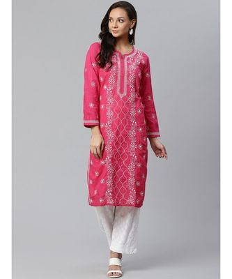 Ada Hand Embroidered Pink Cotton Lucknow Chikankari Kurta with Trouser Set