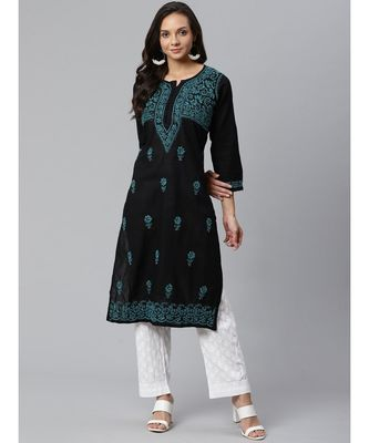 Ada Hand Embroidered Black Cotton Lucknow Chikankari Kurta with Palazzo Set