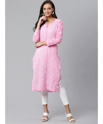 Ada Hand Embroidered Pink Lucknow Chikankari Kurta with Palazzo Set