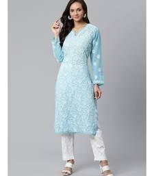 Ada Hand Embroidered Blue and White Lucknow Chikankari Kurta with Palazzo Set