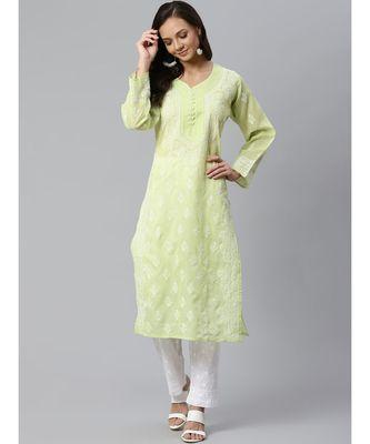 Ada Hand Embroidered Green Cotton Lucknow Chikankari Kurta with Trouser Set