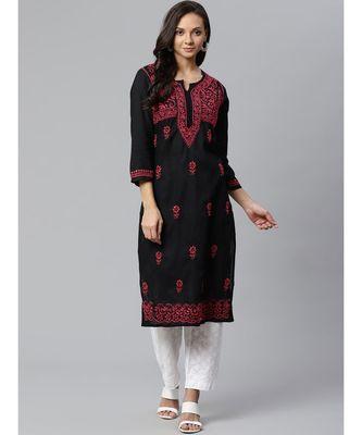 Ada Hand Embroidered Black Cotton Lucknow Chikankari Kurta with Palazzo Set