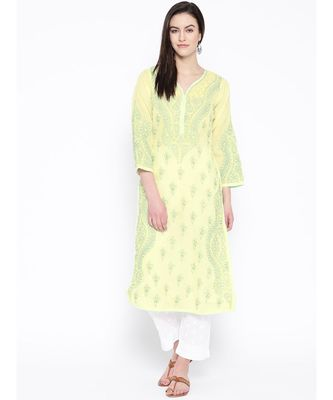 Ada Hand Embroidered Yellow Cotton Lucknow Chikankari Kurta with Trouser Set