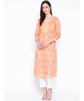 Ada Hand Embroidered Peach Cotton Lucknow Chikankari Kurta with Trouser Set