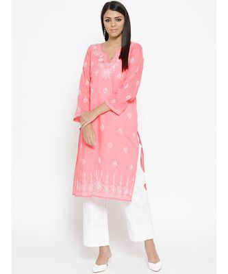 Ada Hand Embroidered Peach/White Lucknow Chikankari Kurta with Palazzo Set