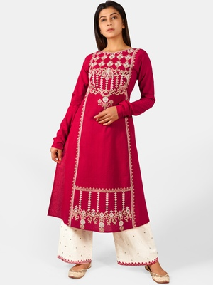 Gulmohar Long Aari Embroidered Khadi Kurta Set with Chudi Sleeves