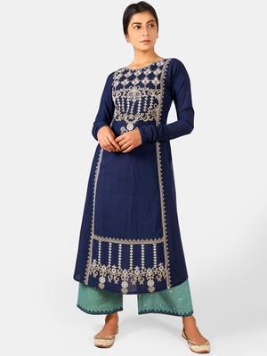 Navyblue Long Aari Embroidered Khadi Kurta Set with Chudi Sleeves