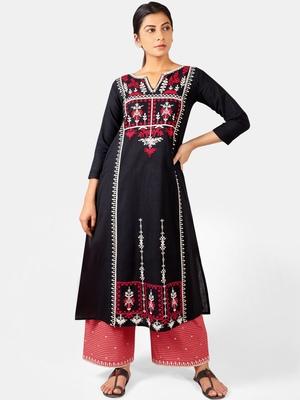 Black Heavy Neck Front Panel Embroidered Khadi Kurta Set