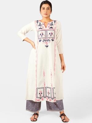 Off-White Heavy Neck Front Panel Embroidered Khadi Kurta Set