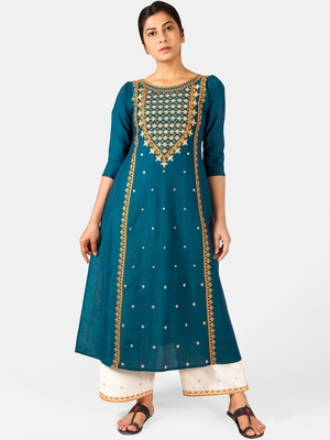 Turquoise Heavy-Neck and Twinkiling Star Embroidered Khadi Kurta Set