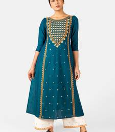 Turquoise Heavy-Neck and Twinkiling Star Embroidered Khadi Kurta Set