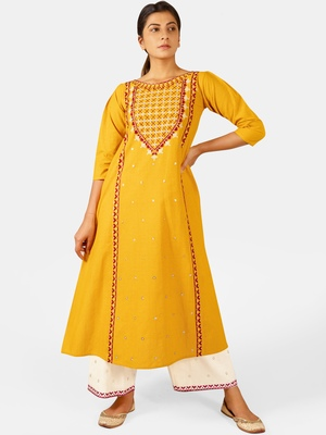 Mustard Heavy-Neck and Twinkiling Star Embroidered Khadi Kurta Set