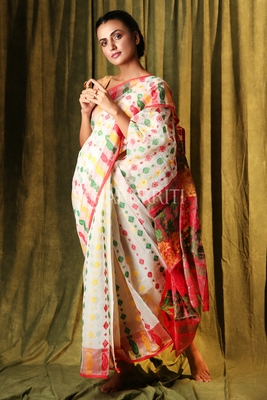 White hand woven blended cotton saree