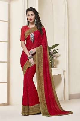 Women Red Georgette Printed Designer saree with blouse