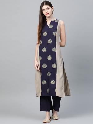 Light grey printed crepe ethnic-kurtis