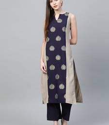 Light grey printed crepe ethnic-kurtis