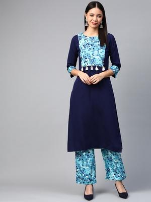 Navy blue printed crepe ethnic-kurtis