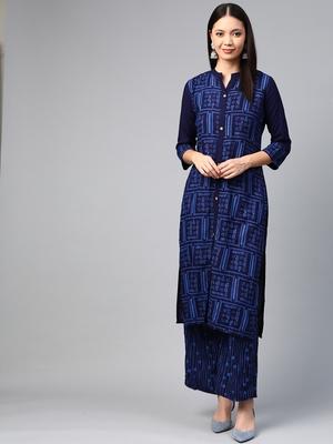 Navy blue printed rayon ethnic-kurtis