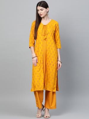 Mustard printed rayon ethnic-kurtis