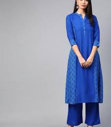 Royal blue printed rayon ethnic-kurtis
