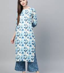 Cream printed rayon ethnic-kurtis