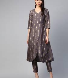 Grey printed silk ethnic-kurtis