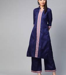 Navy blue printed silk ethnic-kurtis