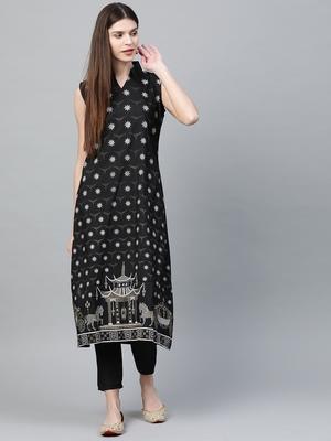Black printed silk ethnic-kurtis