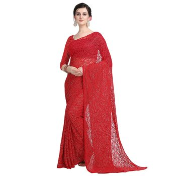 Women Bollywood Net Saree With Blouse Piece