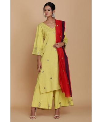 ANJU HARLEEN LIME GREEN TECTURED TUNIC WITH FARSHI AND RED DUPATTA