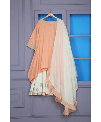 ANJU HARLEEN PEACH ASSYMETRICAL TUNIC WITH IVORY SHARARA AND DUPATTA