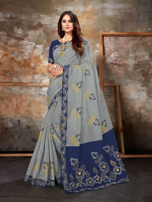 Grey embroidered chanderi saree with blouse