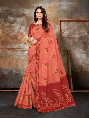 Pink embroidered chanderi saree with blouse