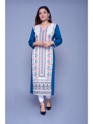 Blue printed rayon kurtas-and-kurtis