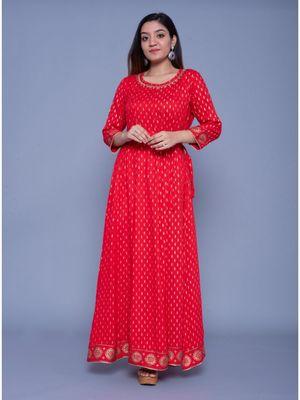 Red printed rayon ethnic-kurtis