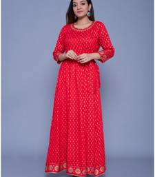 Red printed rayon ethnic-kurtis