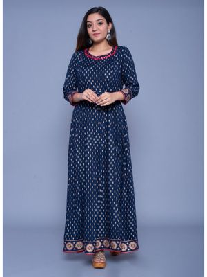 Dark-royal-blue printed rayon ethnic-kurtis