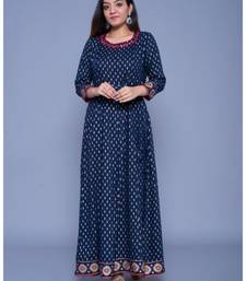 Dark-royal-blue printed rayon ethnic-kurtis