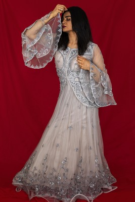 House Of Sitara Grey jacket style embroidered long gown online