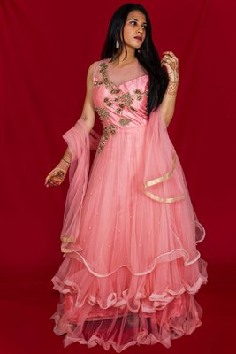 House Of Sitara Bubblegum Pink beads and sequin embroidered long gown with dupatta online