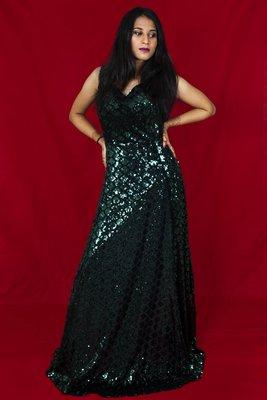 House Of Sitara Bottle Green sequin embellished long gown online