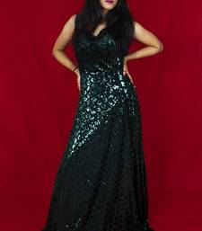 House Of Sitara Bottle Green sequin embellished long gown online