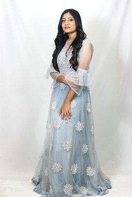 House Of Sitara Powder Blue Long Net Gown Online