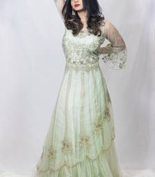 House Of Sitara Green Fancy Long Gown With Heavy Thread Embroidery Online