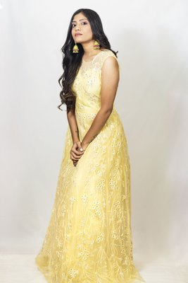 House Of Sitara Yellow heavy embroidered long gown online
