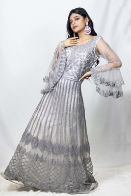House Of Sitara Grey heavy embroidered long gown with bell sleeves online