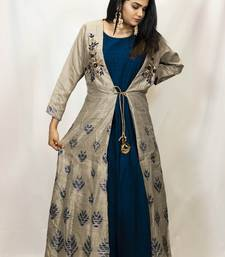 House Of Sitara Grey and Navy Blue jacket style embroidered long gown online