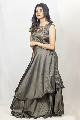 House Of Sitara Grey Fancy Cut Satin Long Gown Online