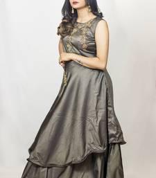 House Of Sitara Grey Fancy Cut Satin Long Gown Online