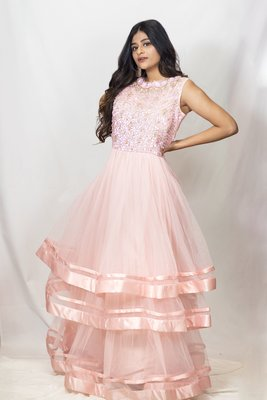 House Of Sitara Pink heavy embroidery layered gown online